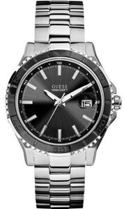 guess Guess Silver Stainless Steel U0244G1 Black Dial Men's Watch