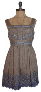 Anthropologie short dress TAUPE Summer Embroidered on Tradesy