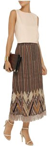 Multi color brown Maxi Dress by SUNO Wool Embroidery Skirt Tasselled