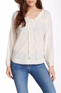 Anthropologie Embroidered Beaded Boho Top IVORY