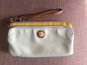 Coach Coach Mint Green Leather Wallet Wristlet With Strap
