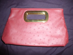 Faux Ostrich Leather Red Clutch