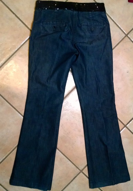 Express Pants Sequins Size 0 P1012 Boot Cut Jeans-Dark Rinse