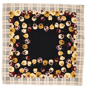 Burberry Tan, black, yellow Burberry silk Nova check floral print oversized scarf