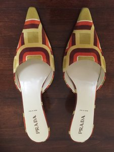 Prada Lime Green, Lemon, orange, burgundy and white Mules