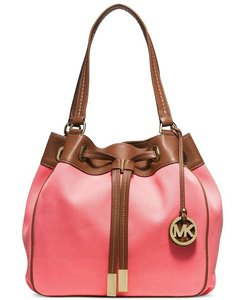 Michael Kors Marina Large Drawstring Leather Tote in Coral / Luggage