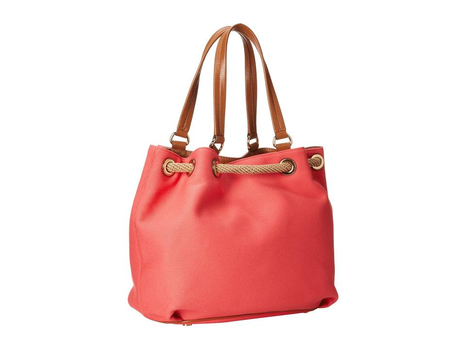 a938dffe5a27 Michael Kors Marina Large Drawstring Leather Tote in Coral Luggage .