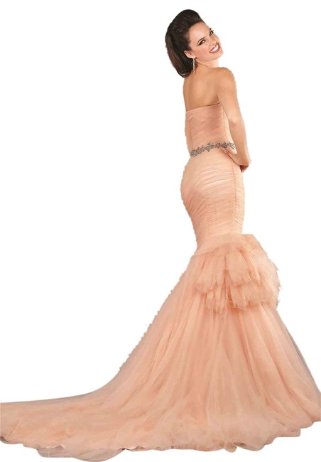 Item - Peach Stunning Long Cocktail Dress Size 10 (M)