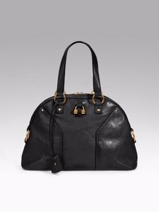 Saint Laurent Ysl Classic Muse Leather Satchel in Black