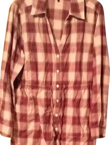 Daisy Fuentes Button Down Shirt Plaid- Multi