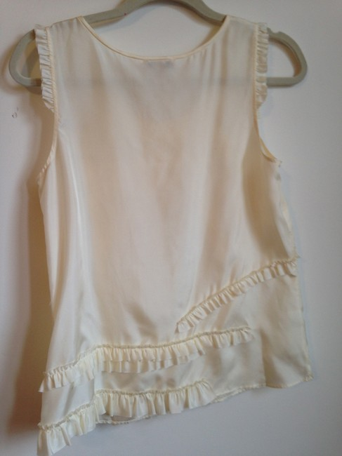 J.Crew Party Date Night Silk Ruffle Holiday Top Off White/Cream