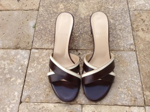 Bally Leather Striped Black and White Sandals
