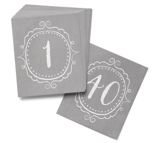 Wedding Charming Vintage Table Cards Numbers 1 To 40 Grey Distressed Style Wedding Table Number Cards Vintage Style