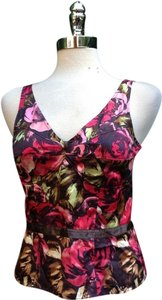 INC International Concepts Silk Corset Cami Top Red roses floral