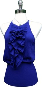 Adrienne Vittadini Camisole Knit Ruffled Couture Sweater Knit Bohemian Top Indigo blue