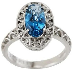 Tacori IV Tacori IV Diamonique Epiphany Oval Simulated London Blue Topaz Sterling Silver Ring - Size 7