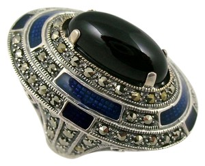 Dallas Prince Designs Dallas Prince Designs Black Onyx, Marcasite and Blue Enamel