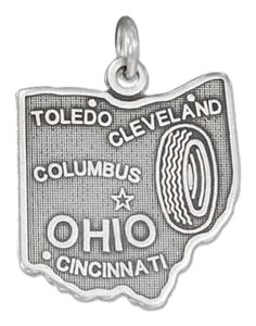 Sterling Silver Antiqued Ohio State Charm