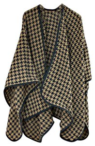 Beige Houndstooth Large Shawl Wrap Cape Poncho