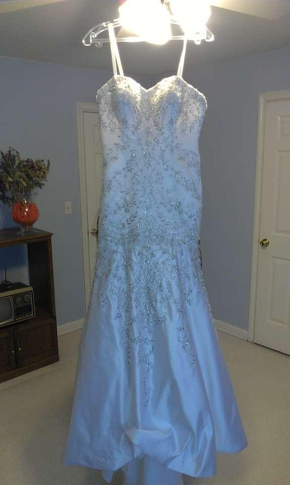 Mori Lee White Satin Duchess Fit and Flare Gown Features Lace Up ...