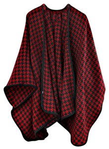 Burgundy Red Houndstooth Large Shawl Wrap Cape Poncho