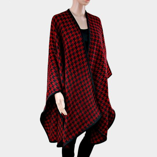 Other Burgundy Red Houndstooth Large Shawl Wrap Cape Poncho