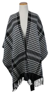 Code 22 Black khaki Fringed Tartan Plaid Large Shawl Wrap Cape Poncho