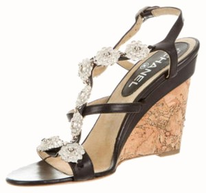 Chanel Hardware Camellia Black, Brown, Silver Sandals
