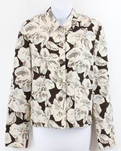 Jones New York Jones York Cream Brown Teal Orange Floral Silklinen Blend Blazer B47