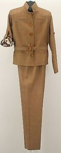 Worth Worth X Camel Textured Silk Piece Belted Pant Suit B258