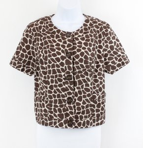 Charter Club Petite Pm Brown Cream Animal Print Cottonlinen Ss B47 Jacket