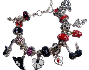 Other New European Charm Bracelet W/ 21 Removable Charms Red Black J2591