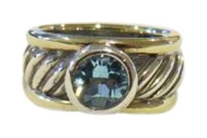 David Yurman David Yurman Color Classics Blue Topaz Sterling Silver/14k Yellow Gold Ring, Size 6