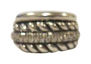 David Yurman David Yurman Thoroughbred Collection Sculpted Cable with Pave' Diamonds Sterling Silver Ring