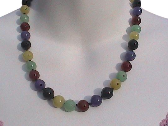 Vintage 14k Yellow Gold Multi Color Jade Necklace