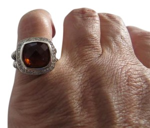 David Yurman Albion Collection - 11mm Orange Citrine with Pave Diamonds Ring