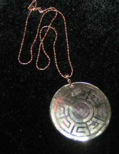 Greek Key Design Abalone Necklace Free Shipping