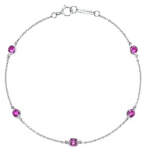 Tiffany & Co. Tiffany & Co Pink Sapphire Color By The Yard Platinum Bracelet NEW