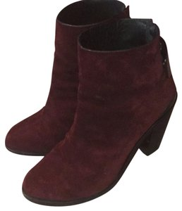Rag & Bone Suede And Buckle Burgundy Boots