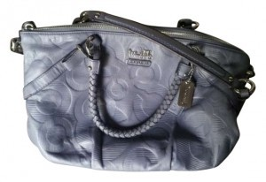 Coach Stamped Leather With Interlocking Satchel in Grey-Lavender