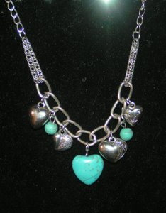 Bogo Free Silver Heart Turquoise Necklace Free Shipping