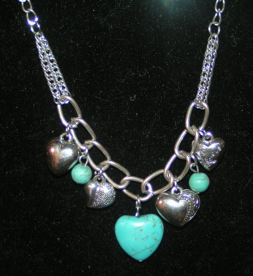Turquoise Silver Bogo Free Heart Free Shipping Necklace