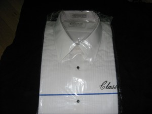 Classix White L Pleated Tuxedo 38/39 Laydown Collar Shirt