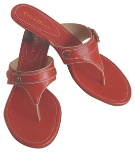 Cole Haan Brass Hardware Cute Buckle Good Condition Orange/Red Sandals
