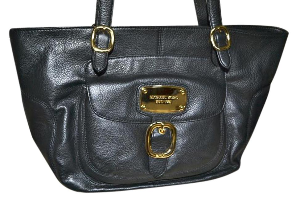 df3b050e2227 Michael Kors New Hudson Downtown East West Black Leather Tote - Tradesy