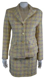 Orna Farho ORNA FARHO 2 Pieces Wool/Cotton Blend Skirt Suit in Yellow/Multi-color Size 38/4 On Sale