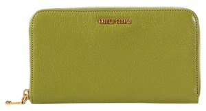 Miu Miu Green Leather Continental Zip Around Wallet