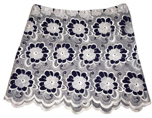 Tibi Mini Skirt Blue and White