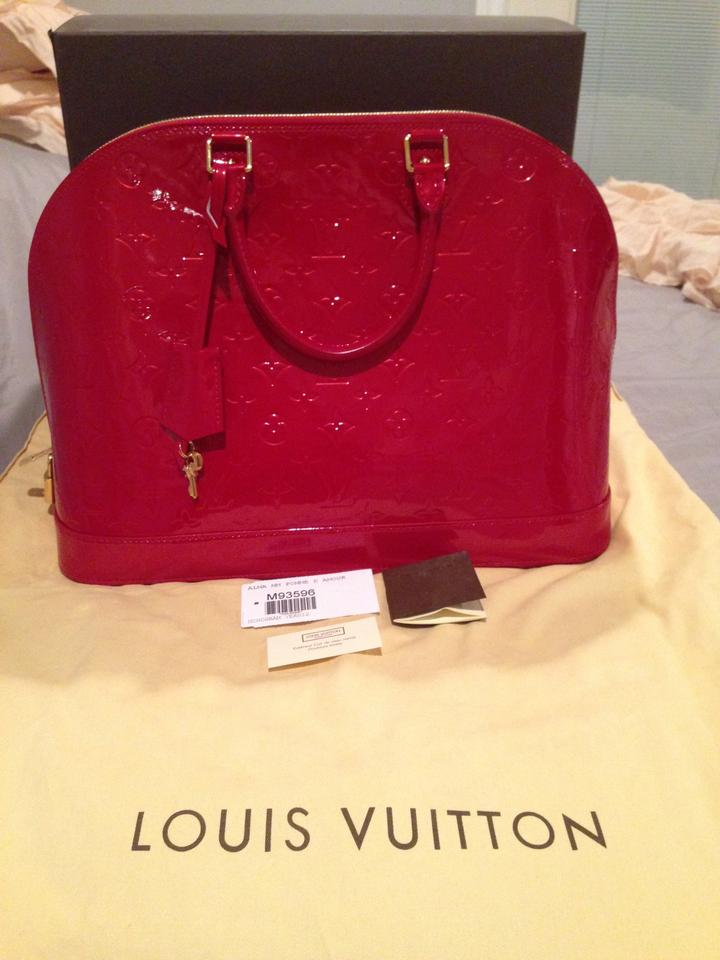 379b4d1798df Louis Vuitton Alma Mm Pomme D amour Monogram Vernis Red Patent Leather  Satchel - Tradesy