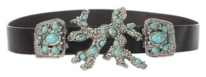 Valentino Turquoise and Rhinestone Embellished Belt
